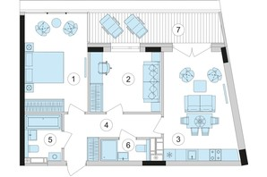 ЖК Park Lake City: планировка 2-комнатной квартиры 67.76 м²
