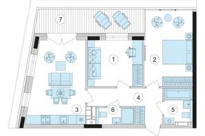 ЖК Park Lake City: планировка 2-комнатной квартиры 66.84 м²