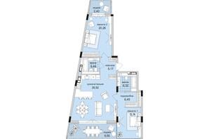 ЖК Park Lake City: планировка 2-комнатной квартиры 69.08 м²