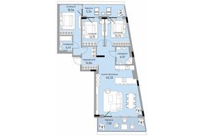 ЖК Park Lake City: планировка 3-комнатной квартиры 128.07 м²