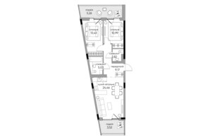 ЖК Park Lake City: планировка 2-комнатной квартиры 74.68 м²