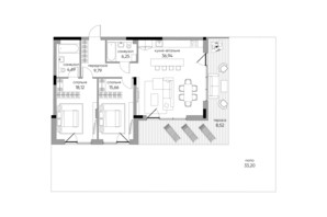ЖК Park Lake City: планировка 2-комнатной квартиры 133.17 м²