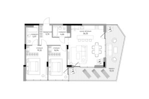 ЖК Park Lake City: планировка 2-комнатной квартиры 103.13 м²