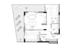 ЖК Park Lake City: планировка 2-комнатной квартиры 77.23 м²