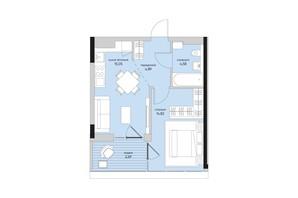 ЖК Park Lake City: планировка 1-комнатной квартиры 42.03 м²