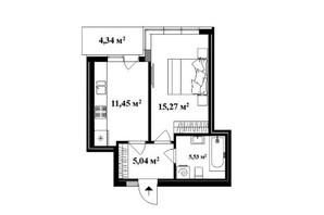 ЖК Park Land: планировка 1-комнатной квартиры 38 м²