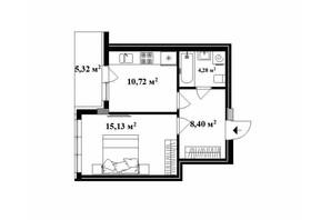 ЖК Park Land: планировка 1-комнатной квартиры 40 м²