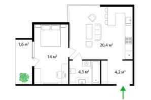 ЖК Park Land: планировка 1-комнатной квартиры 44 м²