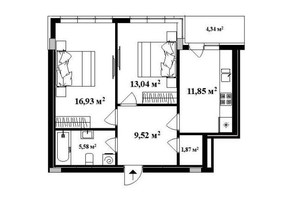 ЖК Park Land: планировка 2-комнатной квартиры 60 м²