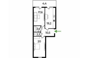 ЖК Park Land: планировка 2-комнатной квартиры 78 м²