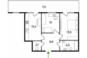 ЖК Park Land: планировка 2-комнатной квартиры 59 м²