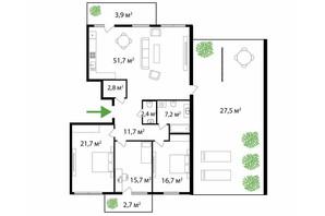 ЖК Park Land: планировка 4-комнатной квартиры 164 м²