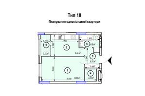 ЖК Park Plaza: планировка 1-комнатной квартиры 39.43 м²