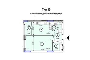 ЖК Park Plaza: планування 1-кімнатної квартири 39.43 м²