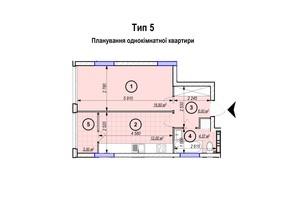 ЖК Park Plaza: планування 1-кімнатної квартири 42.17 м²