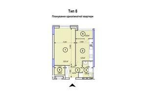 ЖК Park Plaza: планування 1-кімнатної квартири 42.24 м²
