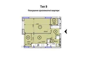 ЖК Park Plaza: планування 1-кімнатної квартири 38.88 м²