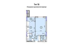 ЖК Park Plaza: планування 1-кімнатної квартири 44.55 м²