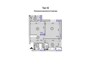 ЖК Park Plaza: планування 1-кімнатної квартири 59.4 м²
