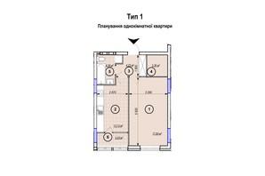 ЖК Park Plaza: планування 1-кімнатної квартири 45.94 м²