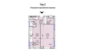 ЖК Park Plaza: планування 1-кімнатної квартири 42.2 м²
