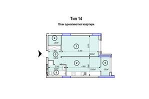 ЖК Park Plaza: планування 1-кімнатної квартири 43.18 м²