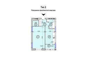 ЖК Park Plaza: планування 1-кімнатної квартири 40.71 м²