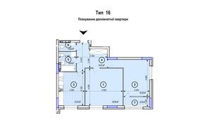 ЖК Park Plaza: планування 2-кімнатної квартири 71.49 м²
