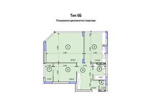 ЖК Park Plaza: планування 2-кімнатної квартири 74.02 м²