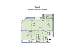 ЖК Park Plaza: планування 2-кімнатної квартири 59.4 м²