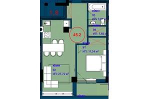 ЖК Park Residence: планування 1-кімнатної квартири 45.1 м²