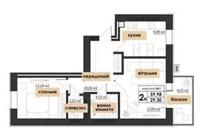 ЖК Park Residence: планування 2-кімнатної квартири 37.75 м²