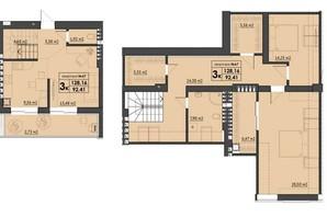 ЖК Park Residence: планування 3-кімнатної квартири 128.16 м²