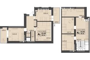 ЖК Park Residence: планування 4-кімнатної квартири 102.88 м²