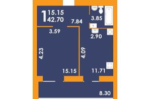 ЖК Park Residence: планування 1-кімнатної квартири 42.7 м²