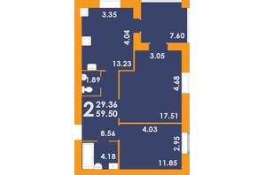 ЖК Park Residence: планування 2-кімнатної квартири 59.5 м²