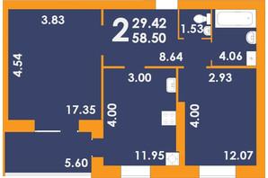 ЖК Park Residence: планування 2-кімнатної квартири 57.7 м²