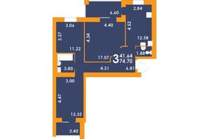 ЖК Park Residence: планування 3-кімнатної квартири 74.7 м²