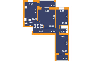 ЖК Park Residence: планування 3-кімнатної квартири 76.8 м²