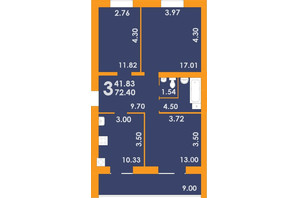 ЖК Park Residence: планування 3-кімнатної квартири 72.4 м²