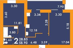 ЖК Park Residence: планування 2-кімнатної квартири 58.9 м²