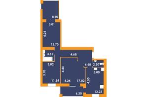 ЖК Park Residence: планування 3-кімнатної квартири 87.46 м²