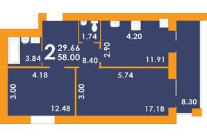 ЖК Park Residence: планировка 2-комнатной квартиры 58 м²