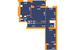 ЖК Park Residence: планировка 3-комнатной квартиры 64.71 м²