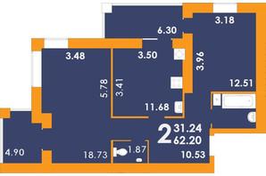 ЖК Park Residence: планировка 2-комнатной квартиры 62.2 м²