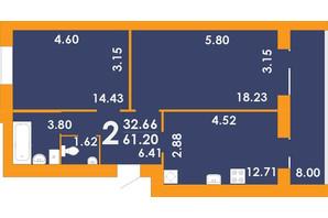 ЖК Park Residence: планировка 2-комнатной квартиры 61.2 м²