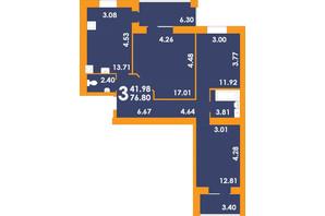 ЖК Park Residence: планировка 3-комнатной квартиры 76.8 м²