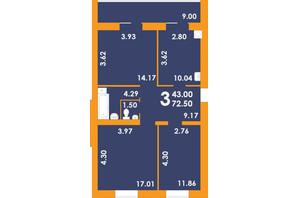 ЖК Park Residence: планировка 3-комнатной квартиры 72.5 м²