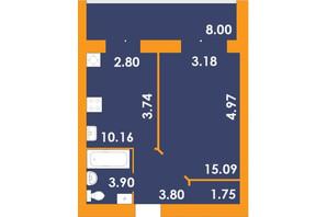 ЖК Park Residence: планировка 1-комнатной квартиры 42.7 м²