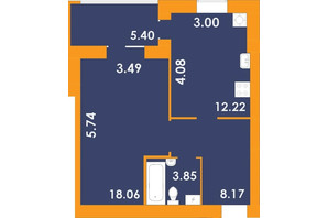 ЖК Park Residence: планировка 1-комнатной квартиры 43.85 м²